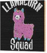 Funny Llamacorn Squad Unicorn Alpaca Lama Wood Print