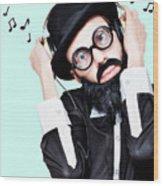 Funny Man Wearing Headphone On Blue Background Wood Print
