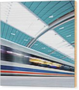 Futuristic Train Wood Print