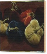 Fuzzy Pumpkins Wood Print