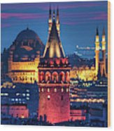 Galata Tower And Suleymaniye Mosque Wood Print