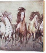 Galloping Horses Magnificent Seven Wood Print