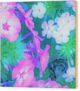 Garden Flowers In Pink, Green And Blue Wood Print