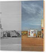 Gas Station - In The Middle Of Nowhere 1940 - Side By Side Wood Print