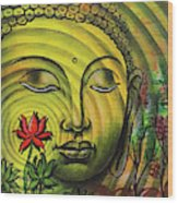 Gautama Buddha Ripple Effect Portrait Wood Print
