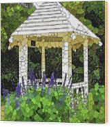 Gazebo In A Beautiful Public Garden Park 3 Wood Print
