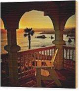 Gazebo View of Central California Coast Wood Print