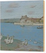 Geese By The River Loing 03 Wood Print