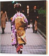 Geisha In Kimono Walking Away, Pontocho Wood Print