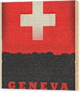Geneva Switzerland World City Flag Skyline Wood Print