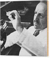 George Papanicolaou Examining A Slide Wood Print