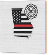 Georgia Firefighter Shield Thin Red Line Flag Wood Print