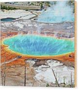 Geothermal Pool With Steam Rising Wood Print