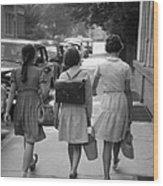 German Schoolgirls Wood Print