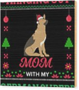 German Shepherd Ugly Christmas Sweater Xmas Gift Wood Print