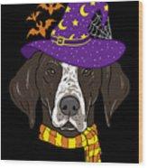 German Shorthair Halloween Witch Hat Flying Bats Wood Print