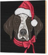 German Shorthair Xmas Hat Dog Lover Christmas Wood Print