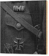 German Soldier Ww2 Black And White Wood Print