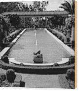 Getty Villa Massive Pool Black White Landscape  Wood Print