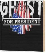 Ghost Elected Cute Halloween Spirit In American Flag Dark Wood Print
