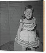 Girl 6-7 Sitting On Box, Smiling Wood Print