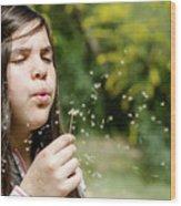 Girl Blowing Dandelion Flower Wood Print