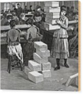 Girl Carrying Boxes Cigarette Factory Wood Print