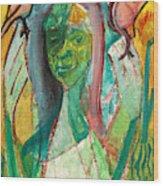Girl In A Garden Wood Print