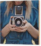 Girl In Vintage Blue Dress Holding Old Wood Print