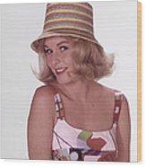 Girl In Vintage Hat Wood Print