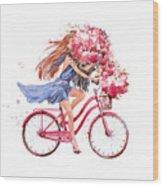 Girl On Bike.  Bicycle. Bike. Peony Wood Print