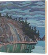 Gitchi-gami Cove Cliff Wood Print