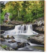 Glade Creek Grist Mill Waterfall Wood Print