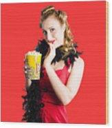 Glamorous Woman Holding Popcorn Wood Print