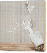 Glas Of Milk Spilling Wood Print