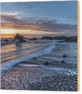 Glass Beach Sunset Wood Print