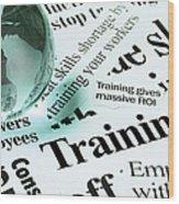 Glass Globe Paperweight On Headlines Wood Print