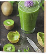 Glass Of Smoothie With Kiwi, Parsley Wood Print