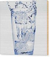 Glass Of Water Splashing Around Wood Print