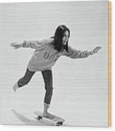 Gloria Steinem On A Skateboard Wood Print