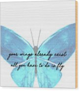 Go Fly Quote Wood Print