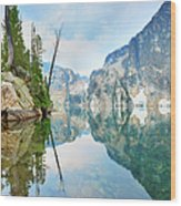 Goat Lake On Cloudy Day In Sawtooth Wood Print
