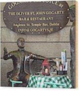 Gogarty And Joyce Statues One Wood Print