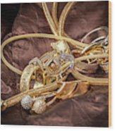 Gold Jewelry Close Up Wood Print