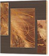 Wings Of Gold Brown Bckgrnd Wood Print