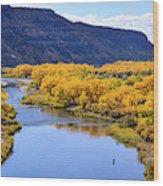 Golden Autumn Trees San Juan River Landscape Wood Print