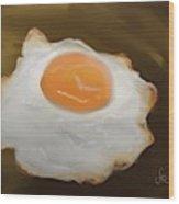 Golden Fried Egg Wood Print