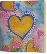 Golden Heart Wood Print