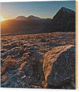 Golden Highland Dawn Glencoe Mountain Wood Print