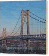 Golden Hour At Mid-hudson Bridge Wood Print
